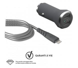 Kit chargeur voiture rapide 2 USB A et câble renforcé 1.2m Lightning Force Power